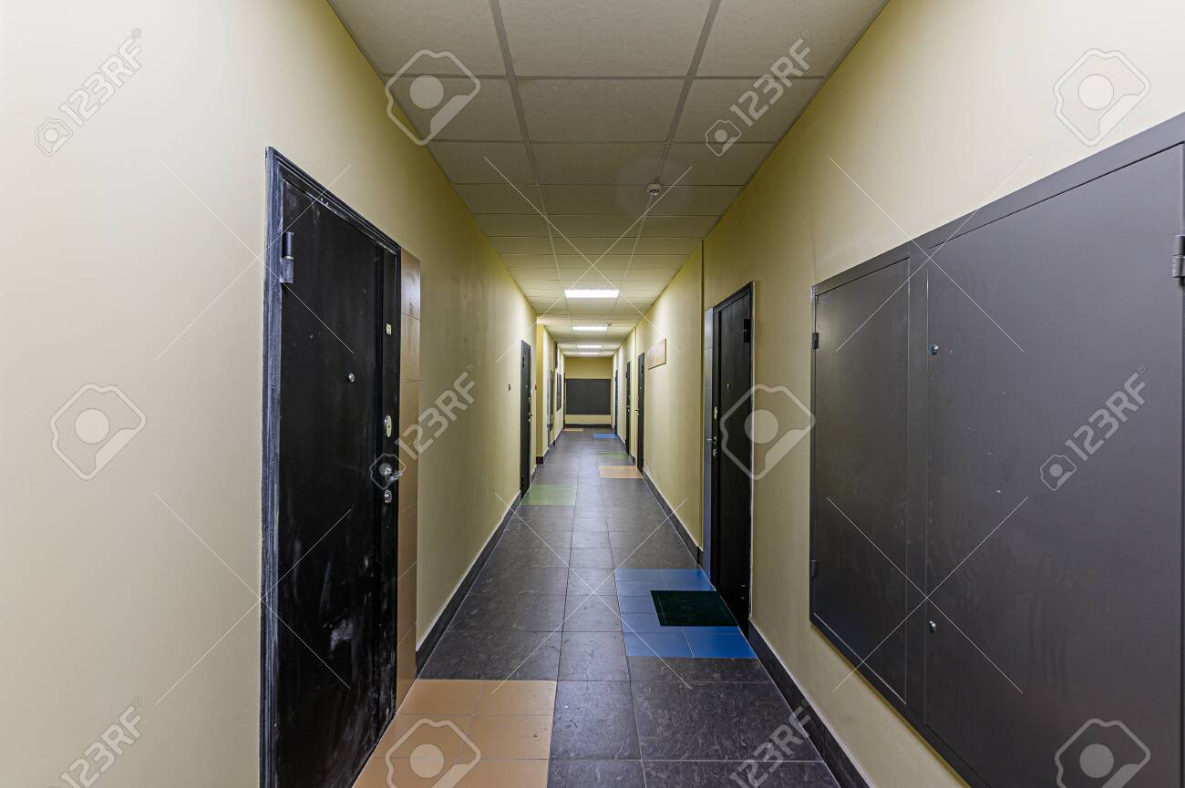 Russia, Moscow- February 07, 2020: interior public place, house entrance. doors, walls, corridors staircase - 152628267