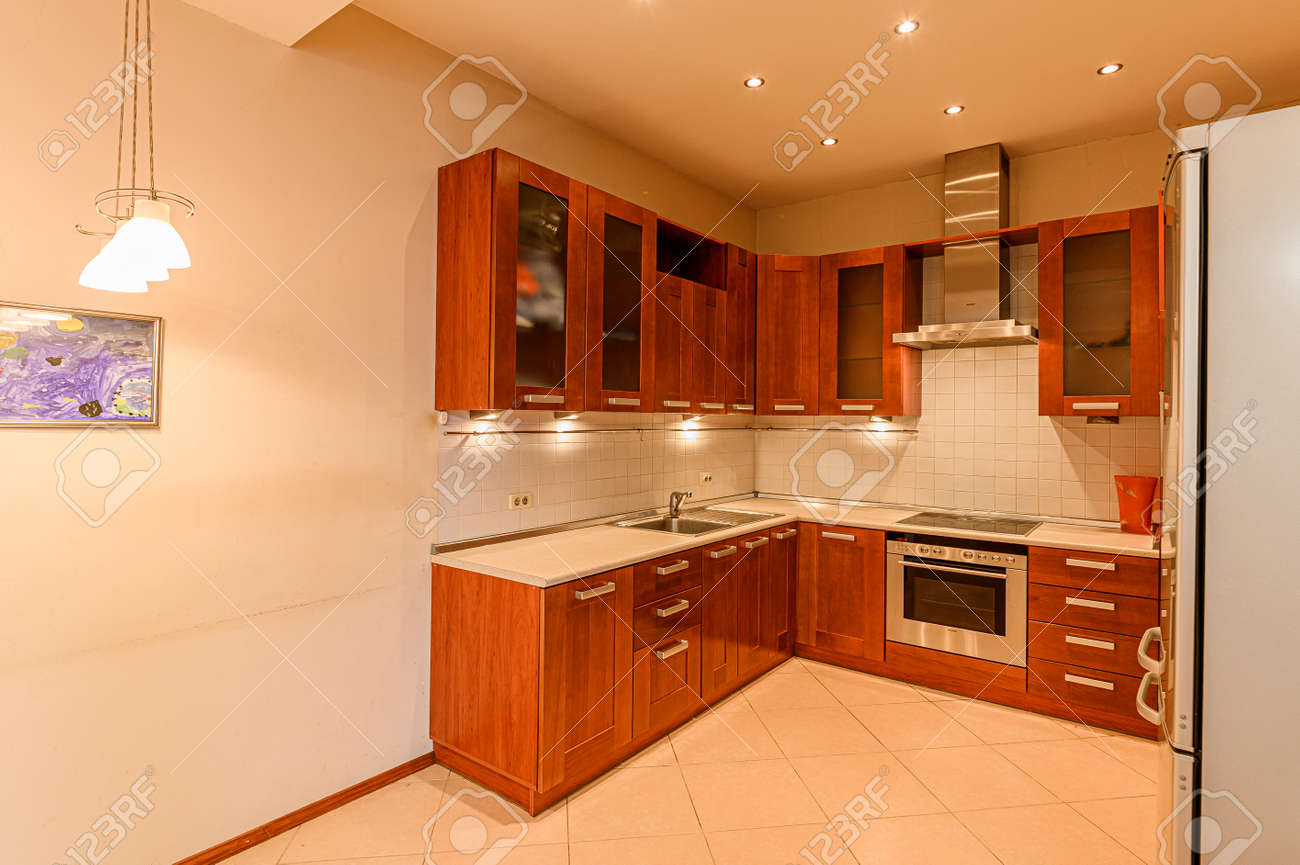 Russia, Moscow- February 10, 2020: interior room apartment modern bright cozy atmosphere. general cleaning, home decoration, preparation of house for sale. kitchen, dining area - 152628239