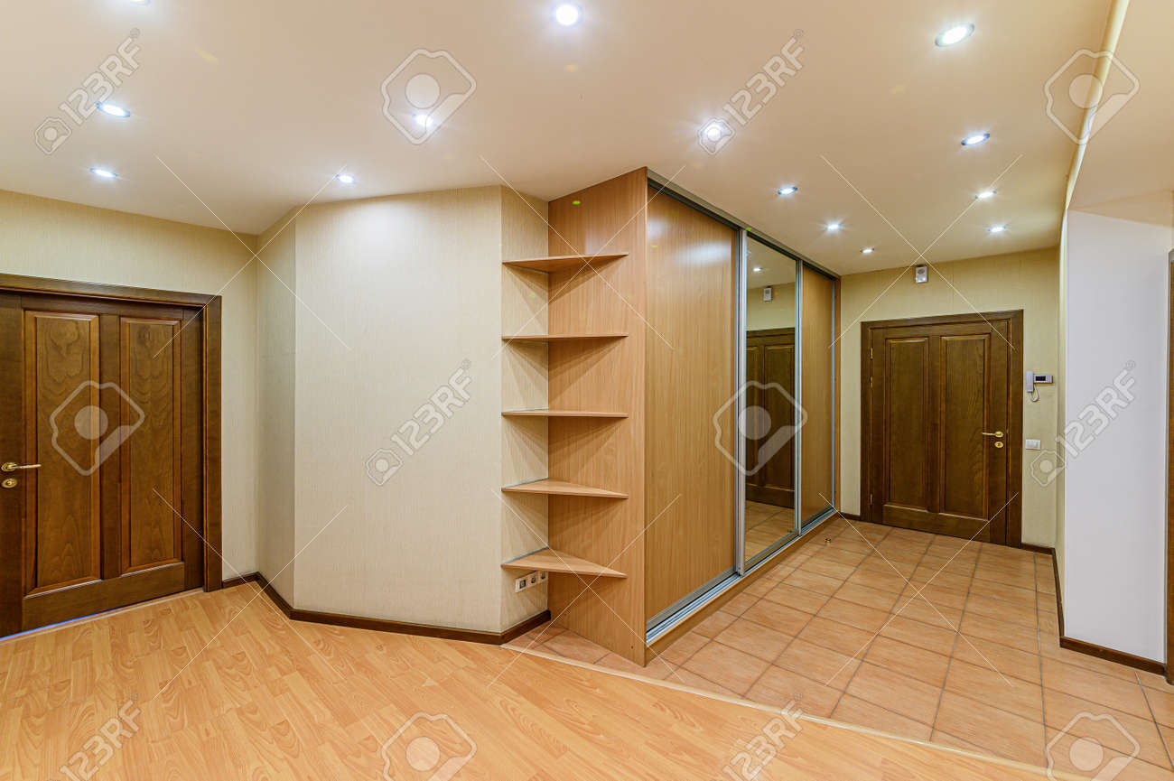 Russia, Moscow- February 10, 2020: interior room apartment modern bright cozy atmosphere. general cleaning, home decoration, preparation of house for sale. room doors, repair corridor - 152628242