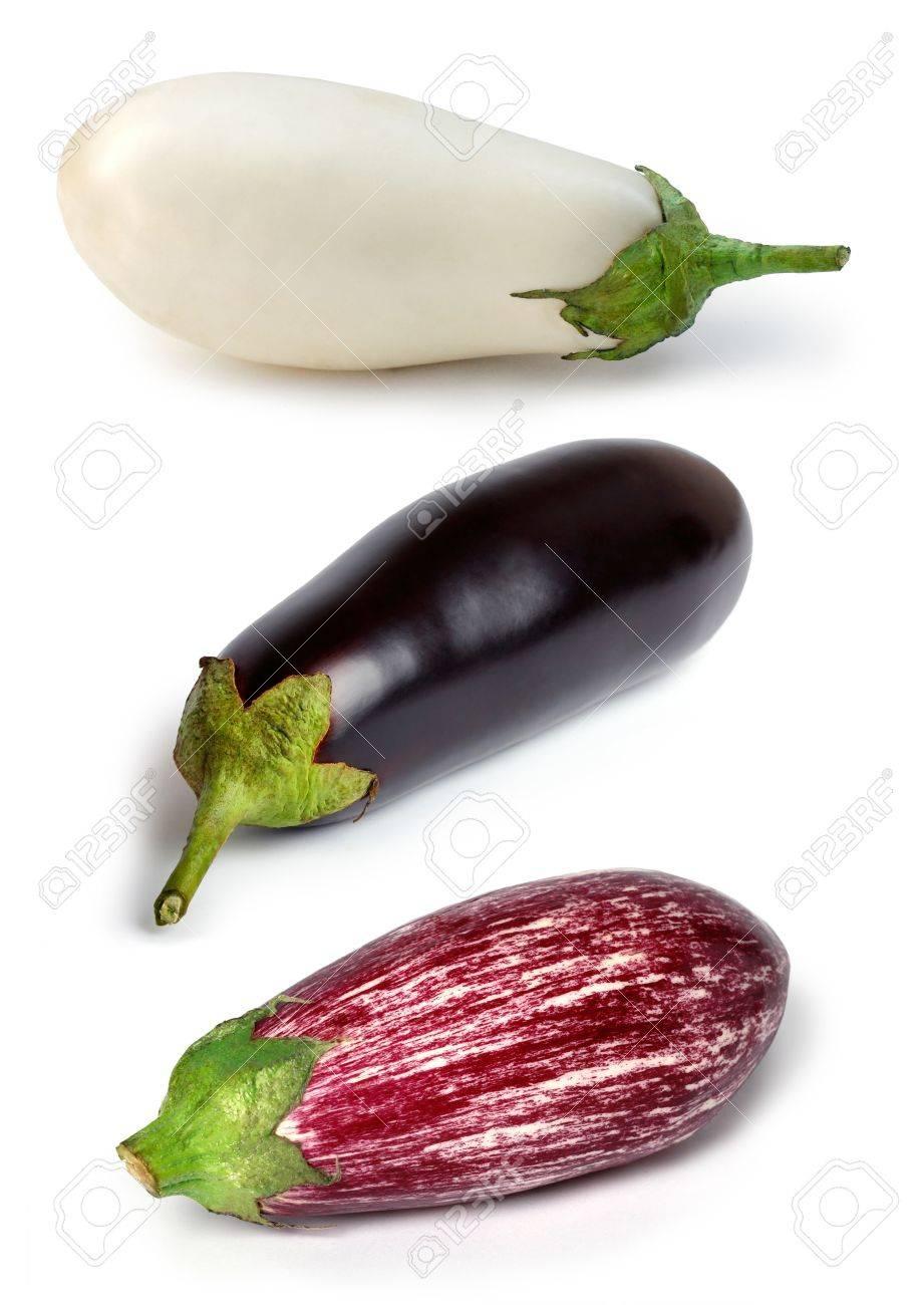 Banque d\u0027images , Set d\u0027aubergines blanches, noir et violet sur un fond  blanc