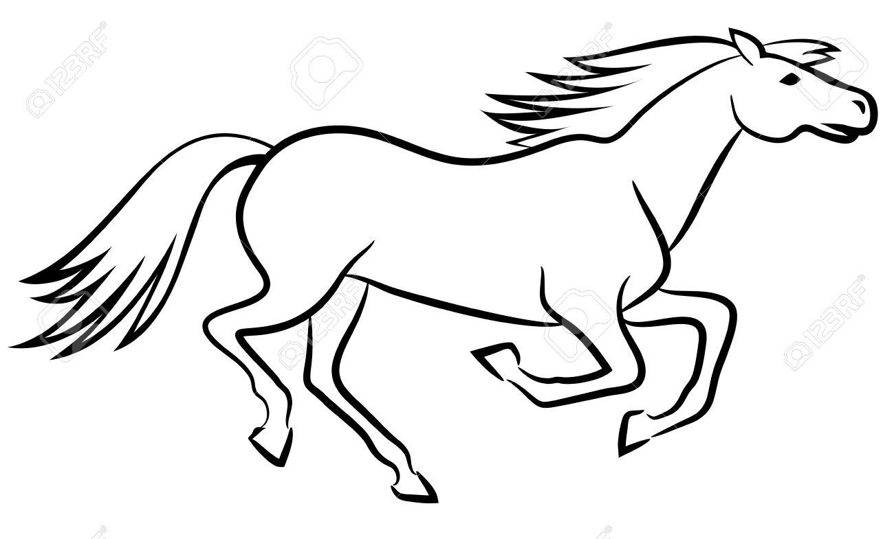 Black And White Horse Outline
