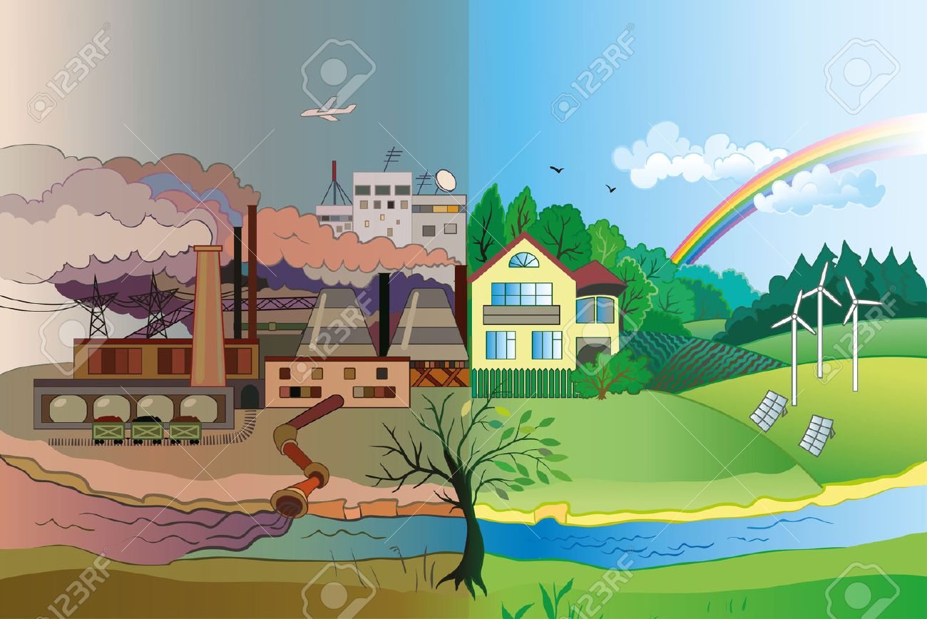 Ecology Concept Vector: urban and village landscape. Environmental pollution and environment protection. - 37572141