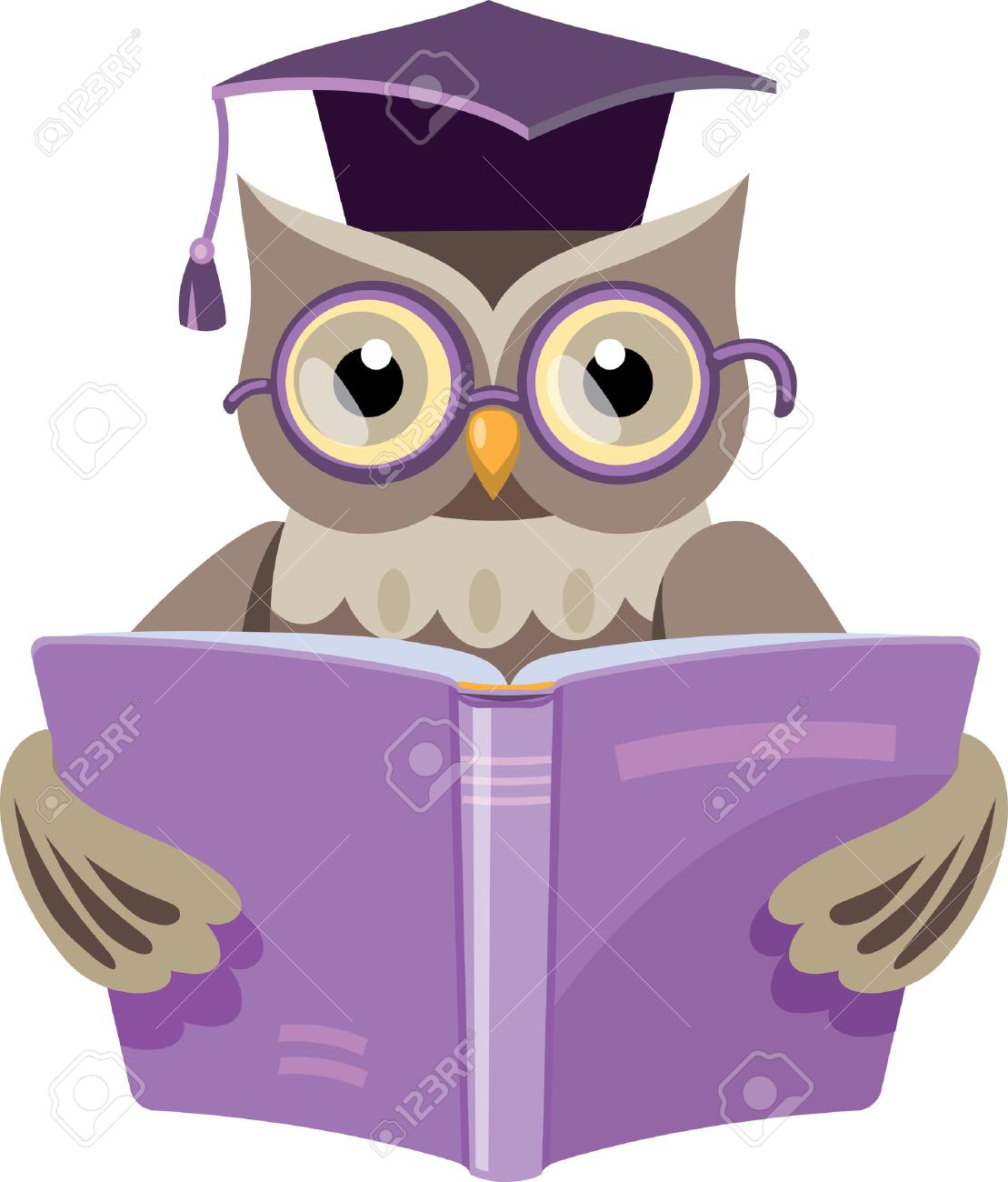 owl in the graduate s cap with the open book royalty free cliparts