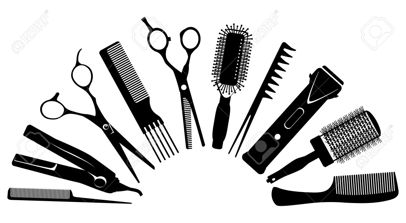 set of silhouettes of tools for the hairdresser royalty free
