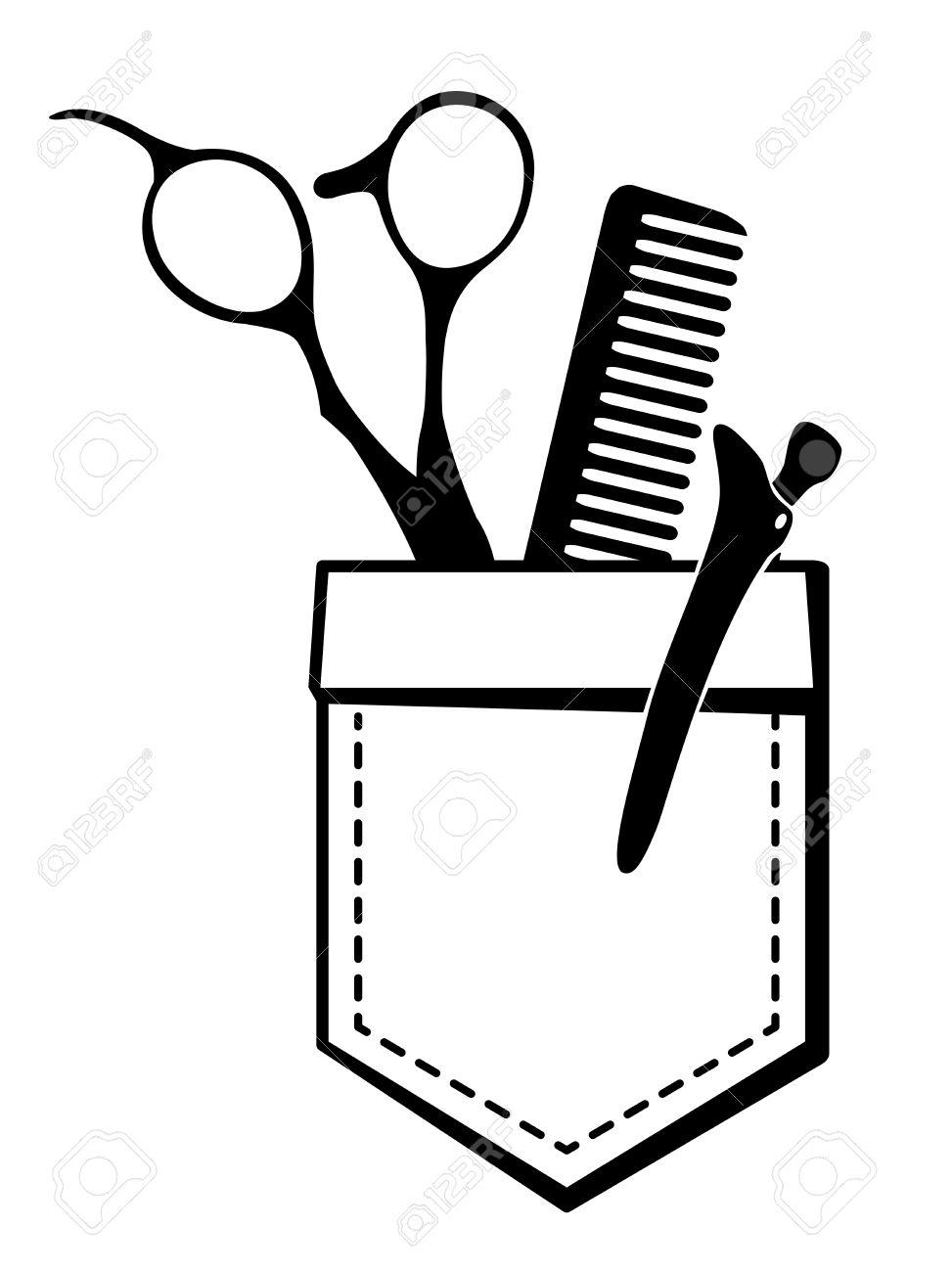 Logo Für Friseursalon Mit Einer Schere Und Kamm In Einer Tasche
