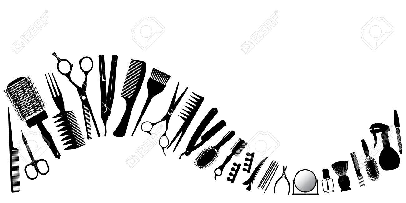 wave from silhouettes of tools for the hairdresser vector
