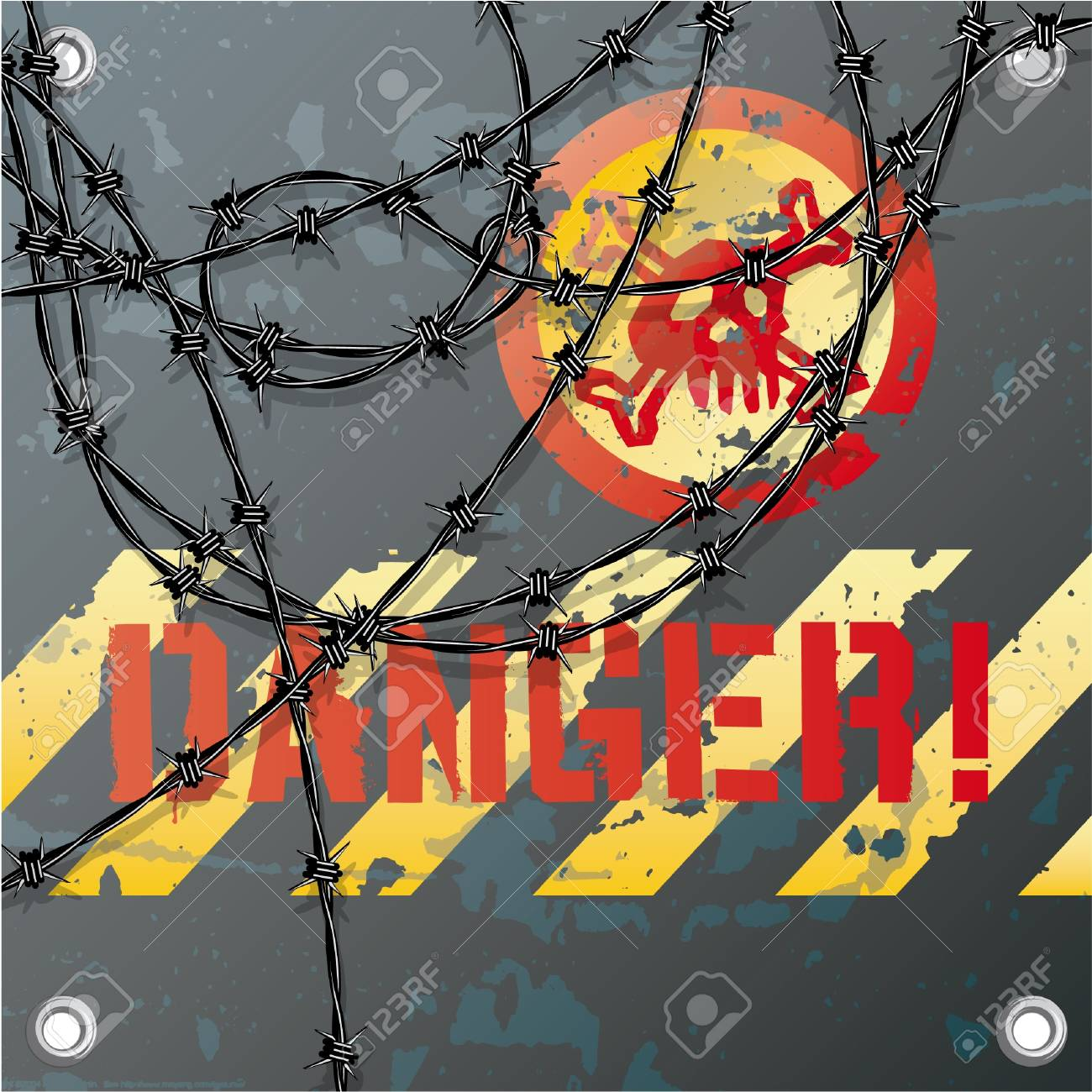 Warning metal sign with skull and barbed wire Stock Vector - 17906537