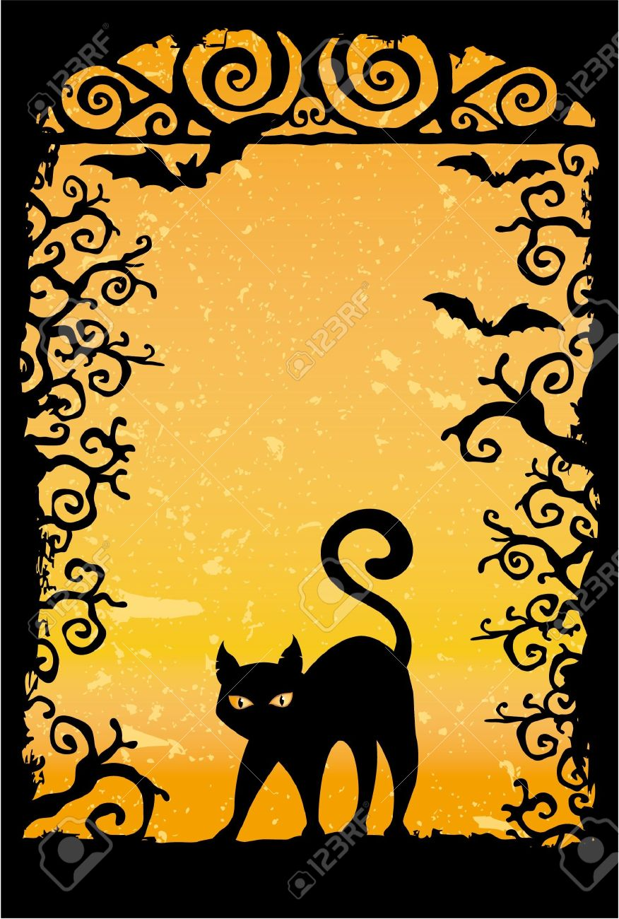 cute black cat vector grunge wallpaper stock vector 18543997 - Black Cat Silhouette Halloween