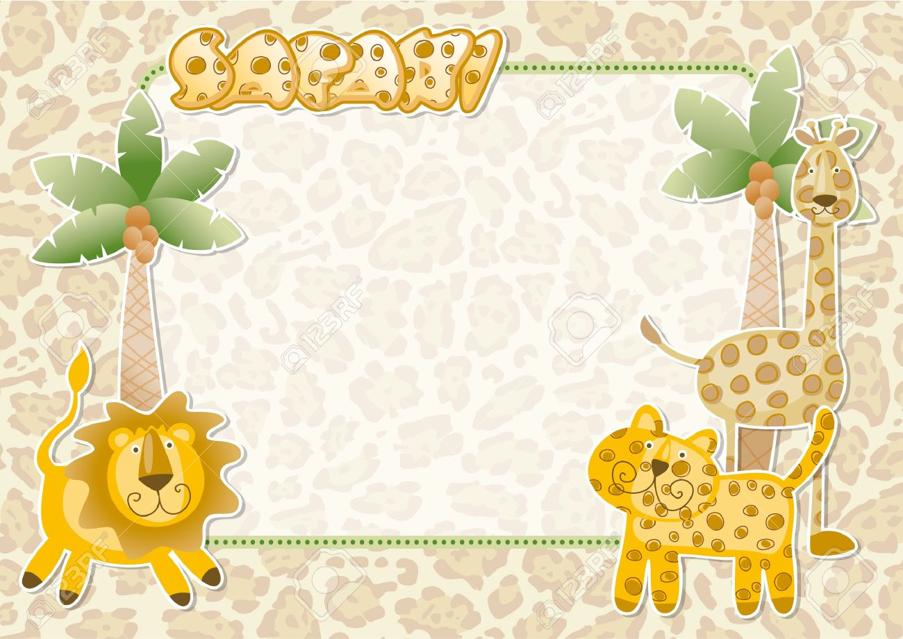 Cute safari wallpaper wild animals party invitation card royalty cute safari wallpaper wild animals party invitation card stock vector 18543999 stopboris Image collections
