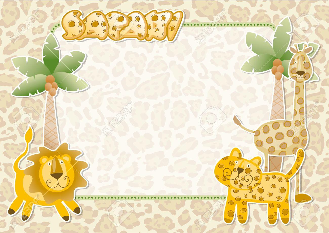 Lindo Safari Wallpaper Parte Tarjeta De Invitación De Los Animales Salvajes
