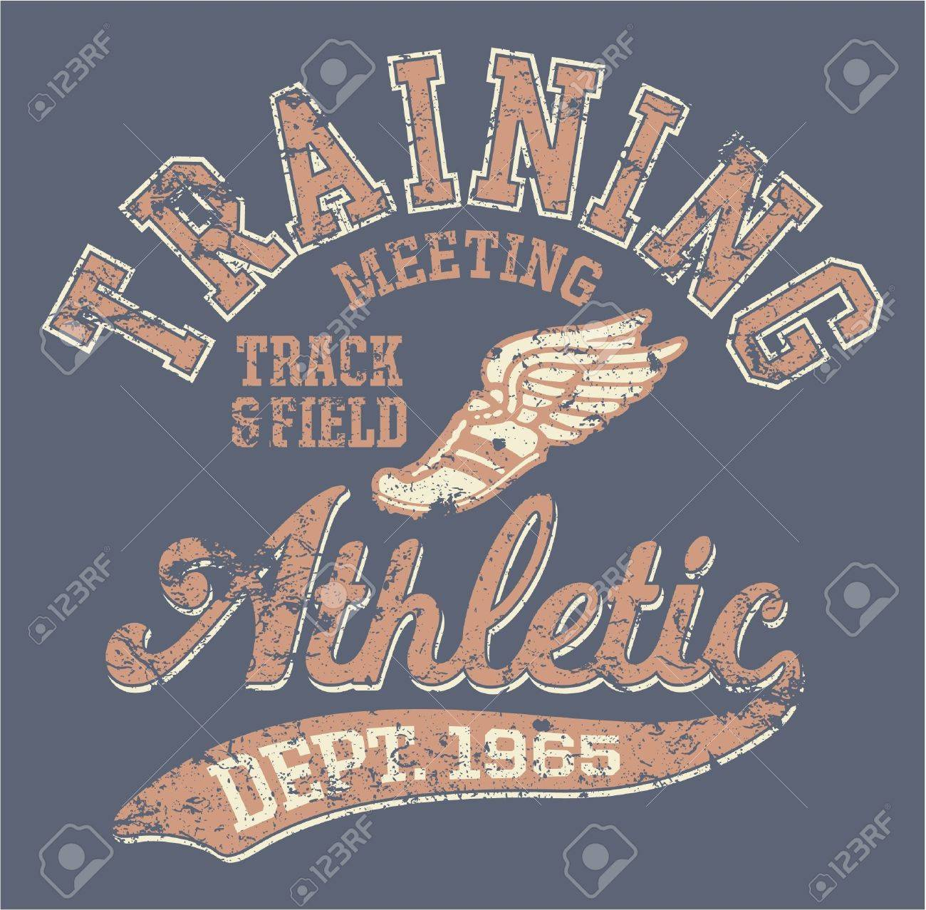 Athletic department  - vintage vector artwork for sportswear in custom colors, grunge effect in separate layer Stock Vector - 19081910