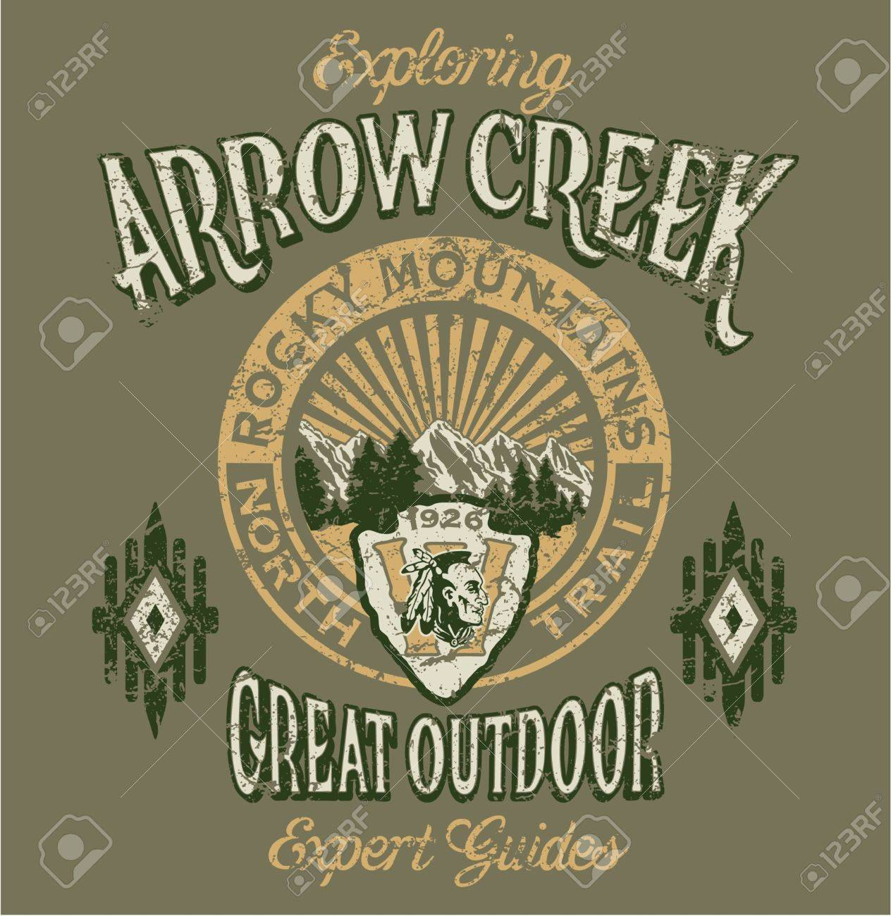 Arrow Creek the great outdoor - Vector artwork for boy sportswear - 3 custom colors - Grunge effect in separate layer Stock Vector - 22020038