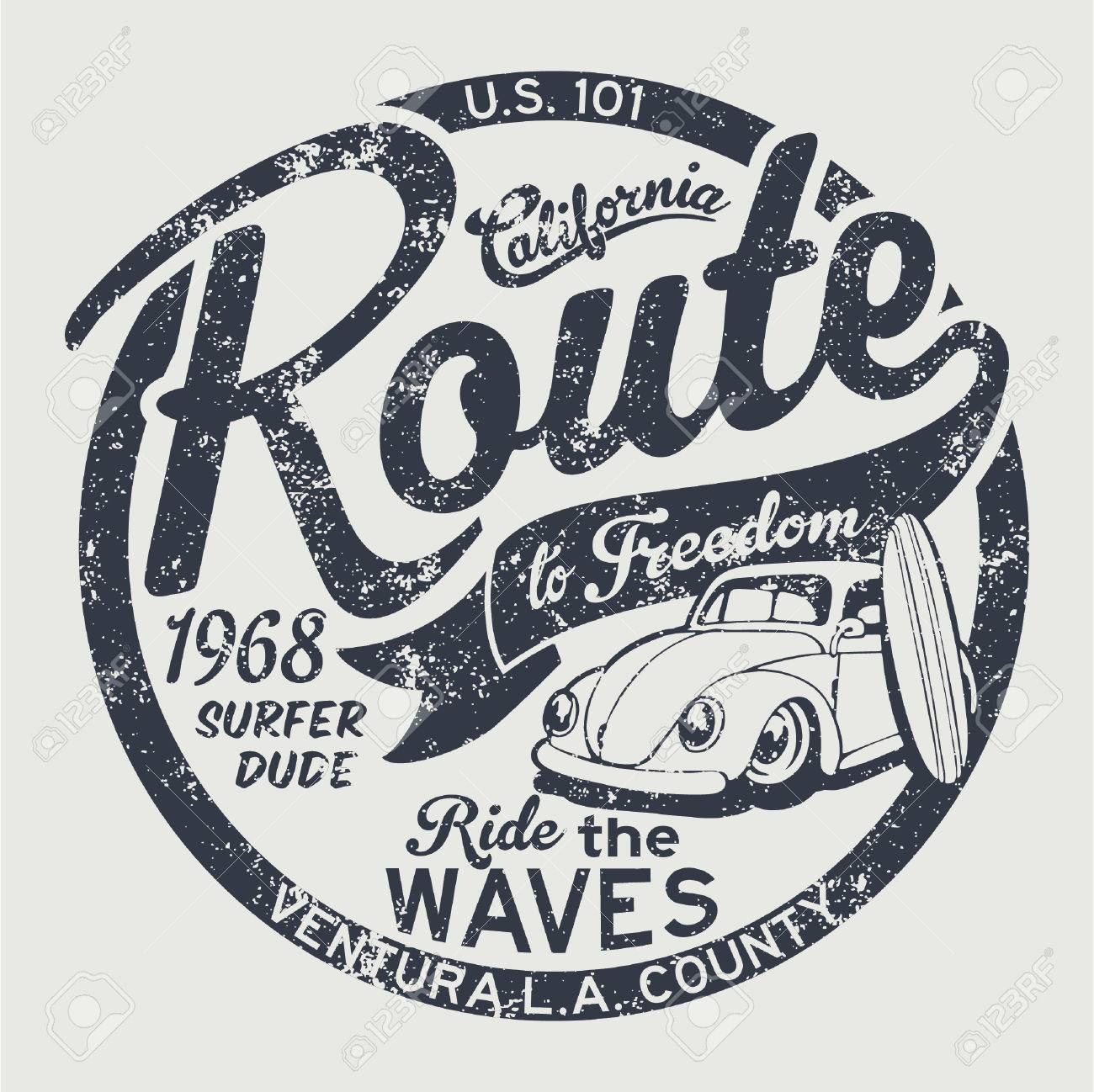 Route to freedom vintage surfing artwork for children wear grunge effect in separate layer - 55075157