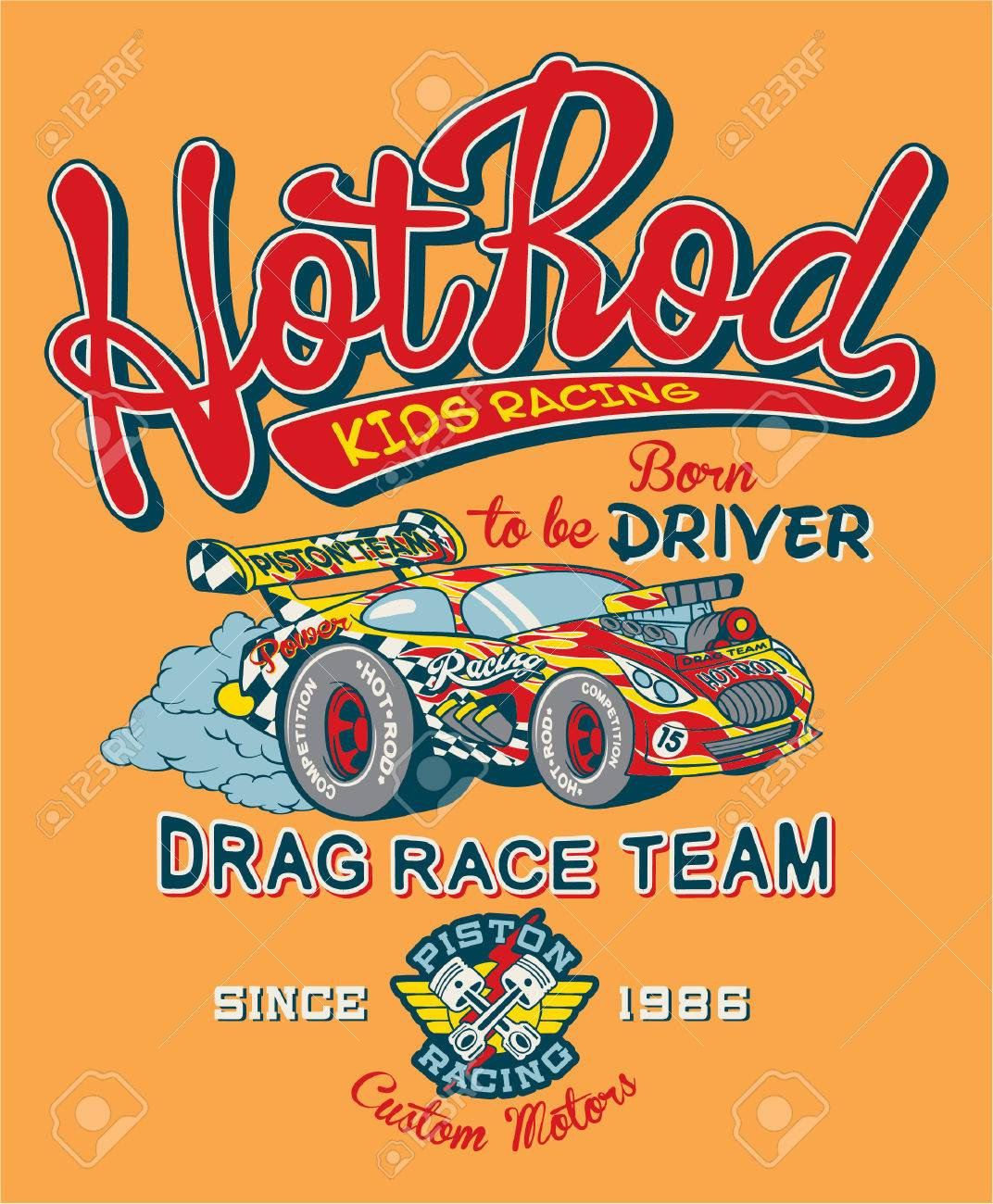 Hot Rod Kids Racing Team, Print For Children Wear In Custom Colors ...
