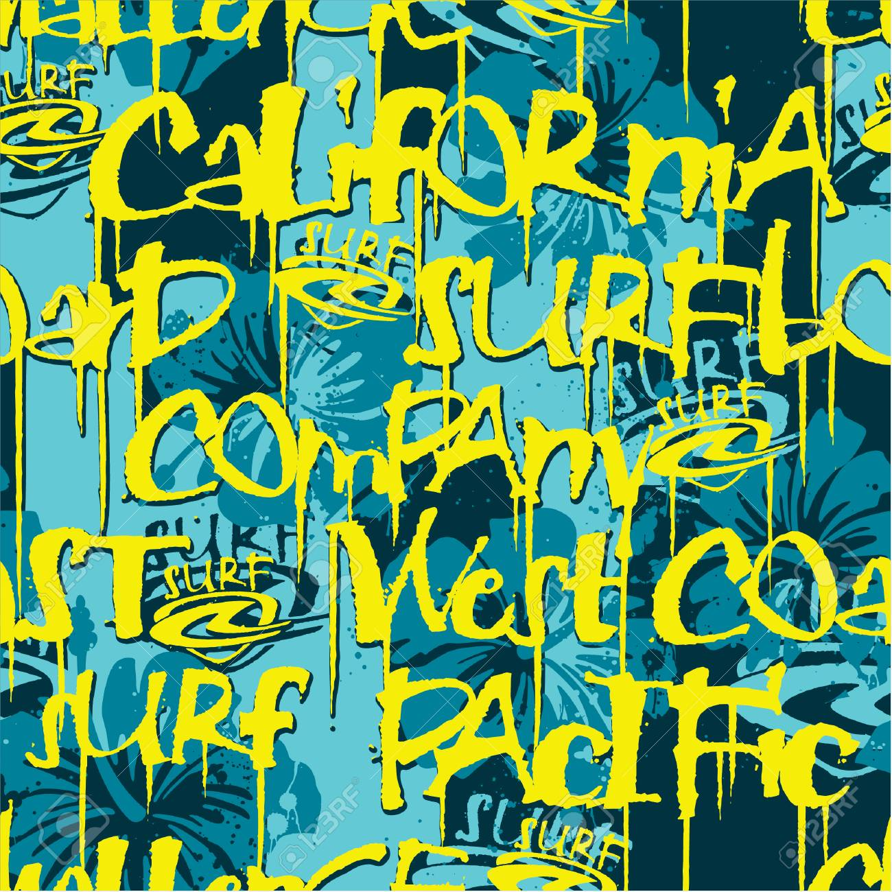 West Coast California surfing company seamless pattern, vector