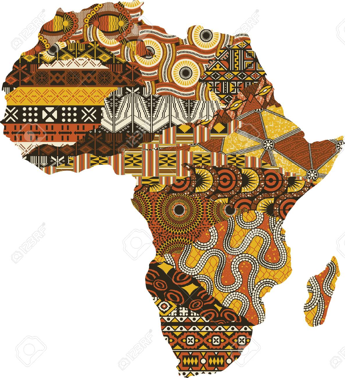 Abstract Africa map patchwork fabric, vector traditional ethnic pattern wallpaper - 103148320