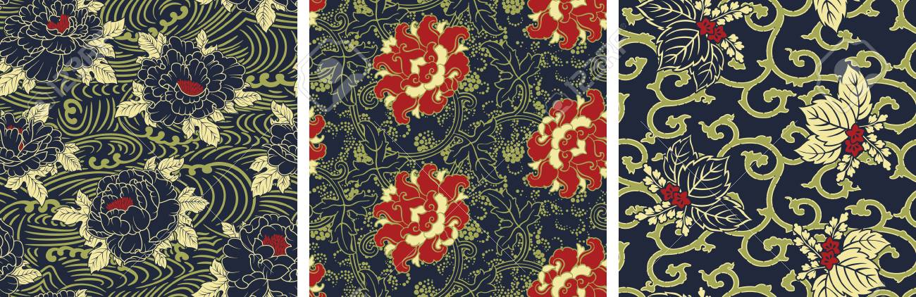 Traditional Chinese Style Fabric Wallpaper Abstract Vector Seamless Unique Chinese Fabric Patterns
