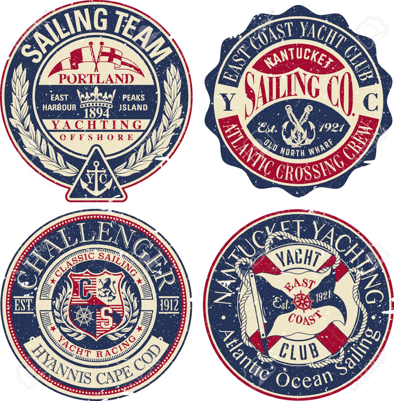 East Coast Yacht club sailing team, vintage vector grunge effect badges collection in separate layers - 110620479
