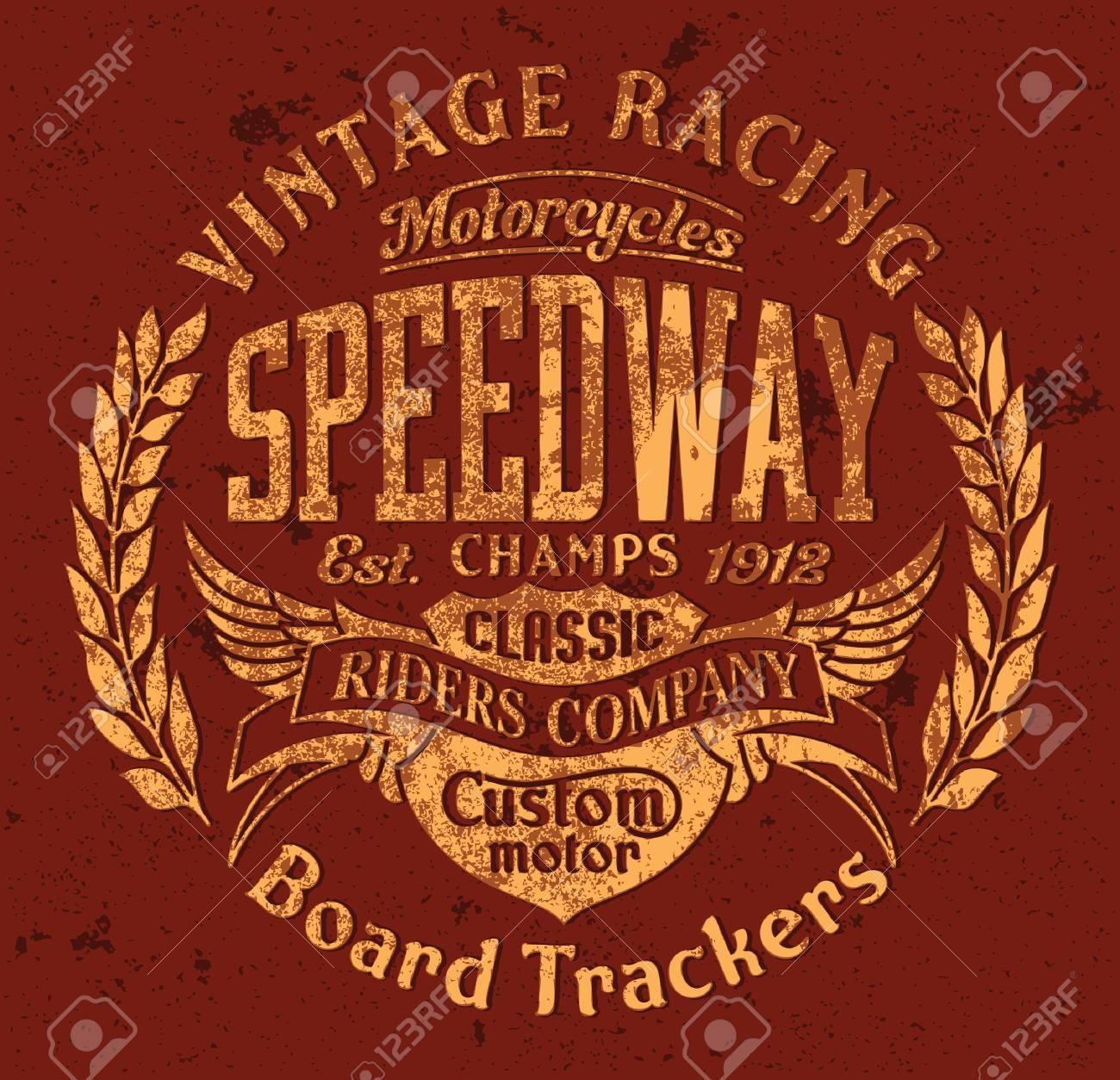 board tracker speedway motorcycle racing team vector vintage
