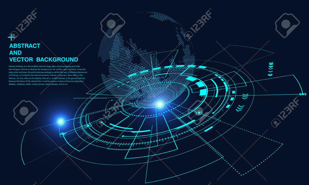 Abstract concept earth, internet connection, virtual reality and science and technology background, artificial intelligence and cloud computing, big data - 120322571
