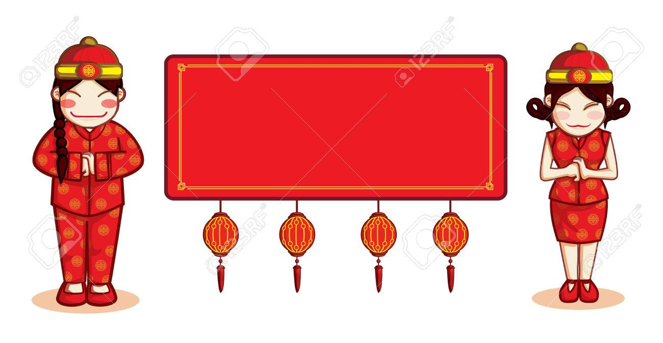 chinese new year child sign vector with blank label stock vector 53723934