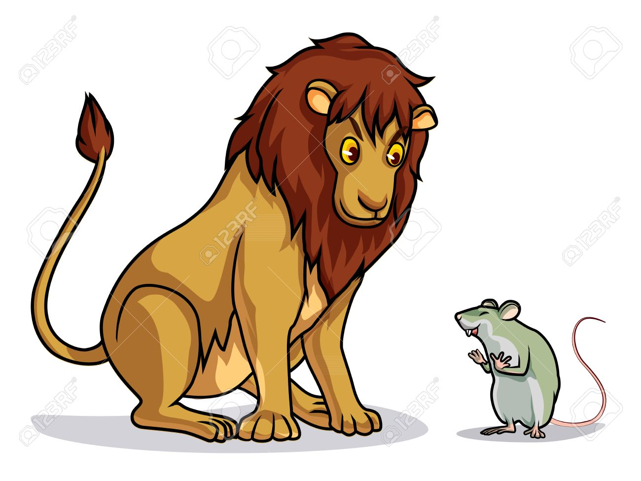 Lion And Rat Draw Cartoon Vector Royalty Free Cliparts Vectors And