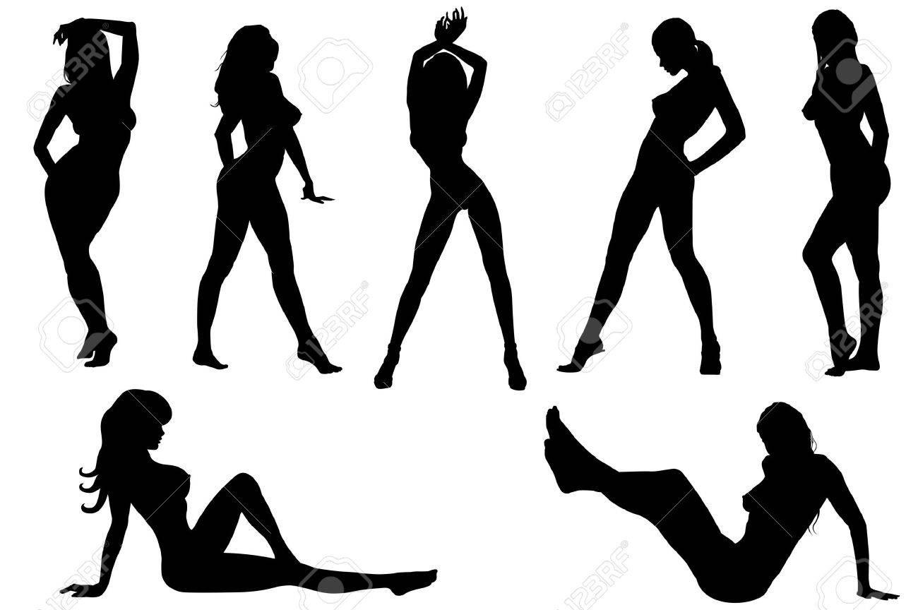 Черно белый силуэт голой девушки 16 фотография