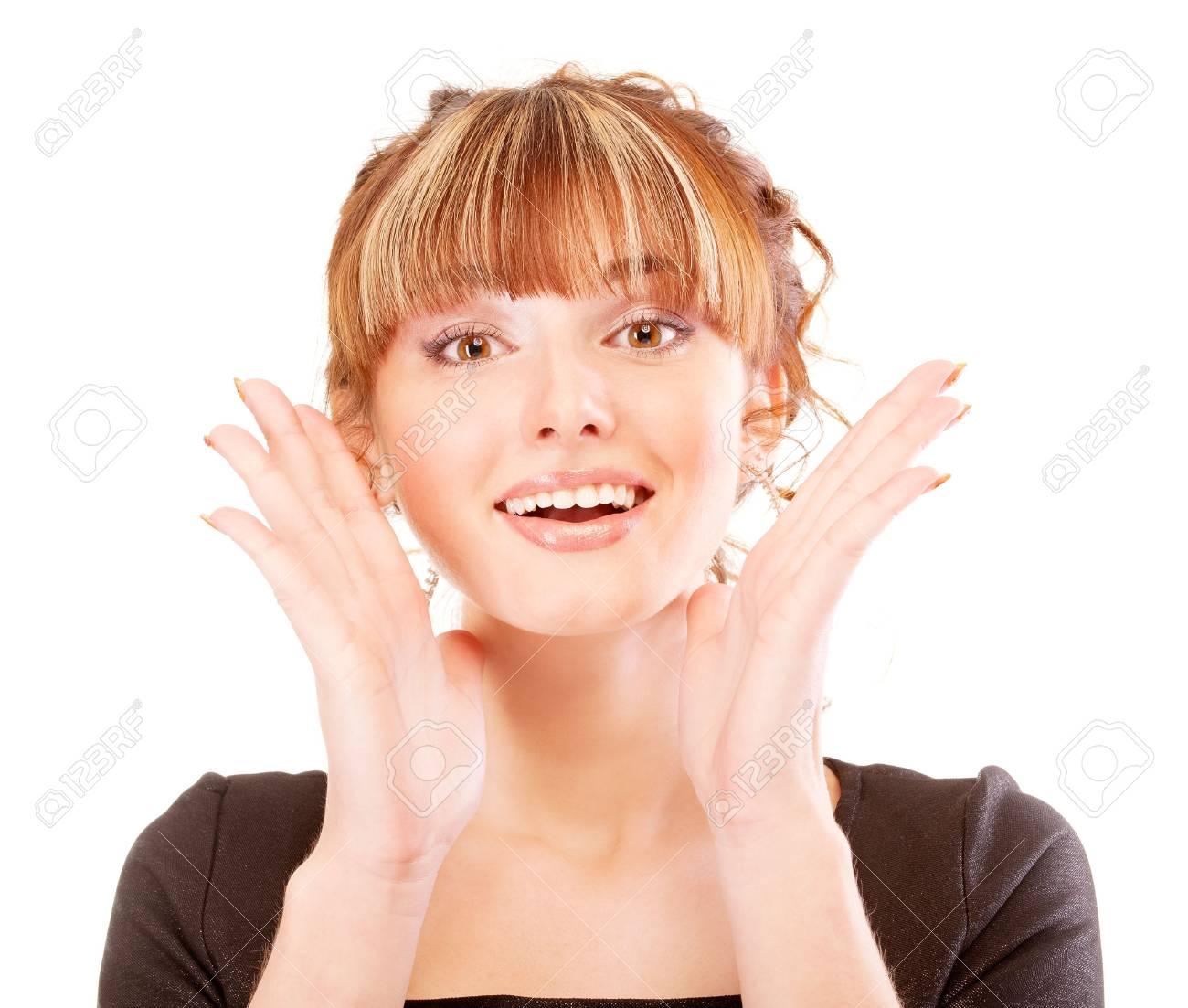 Portrait of joyful girl, isolated on white background. Stock Photo - 6610110
