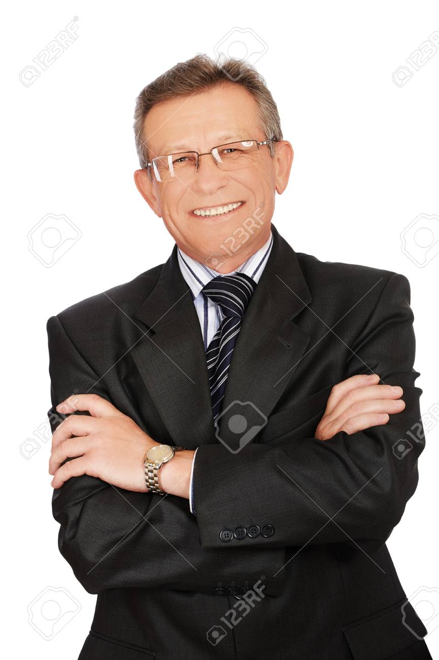 portrait of senior handsome businessman on white Stock Photo - 7807004
