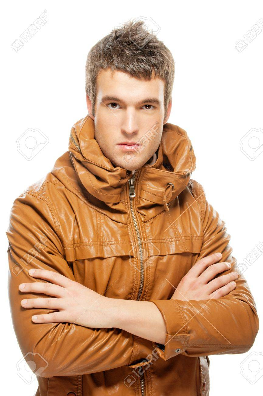 portrait of beautiful young man in a leather jacket, isolated on white background. Stock Photo - 9286148