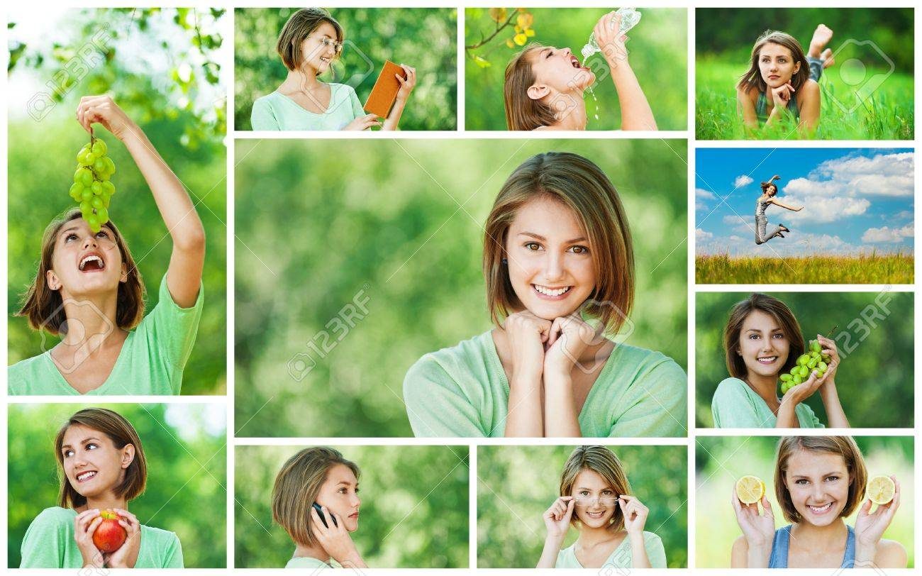 Collage of cheerful young beautiful woman eating grapes, apple