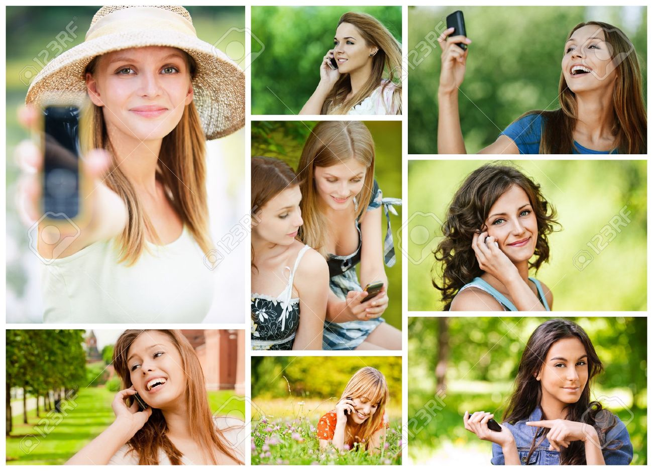 Collage of beautiful young women talking on cell phone and read sms in summer city park. Stock Photo - 12870719