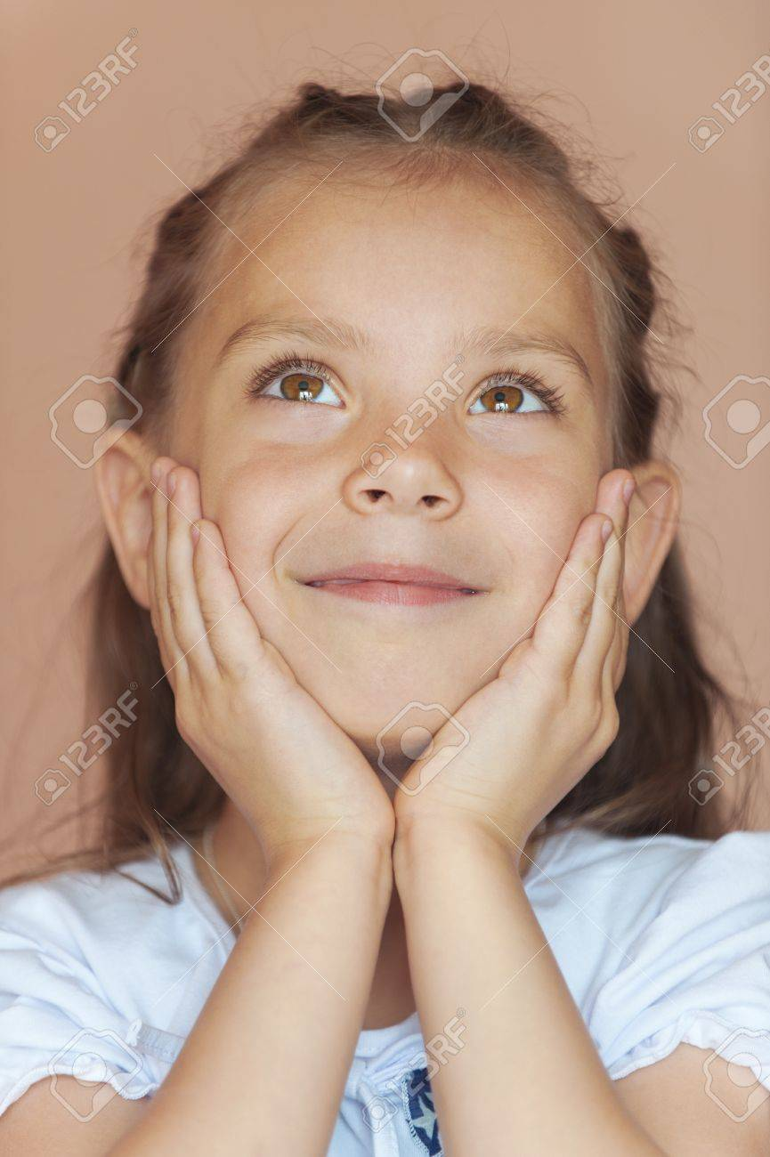 Happy girl-preschooler close-up. Stock Photo - 14942979