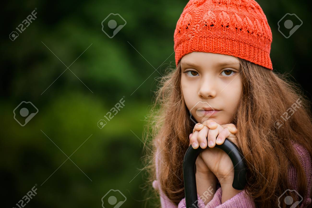 Little Beautiful Girl In Red Beret Thinking About Future 262b1ef79dc