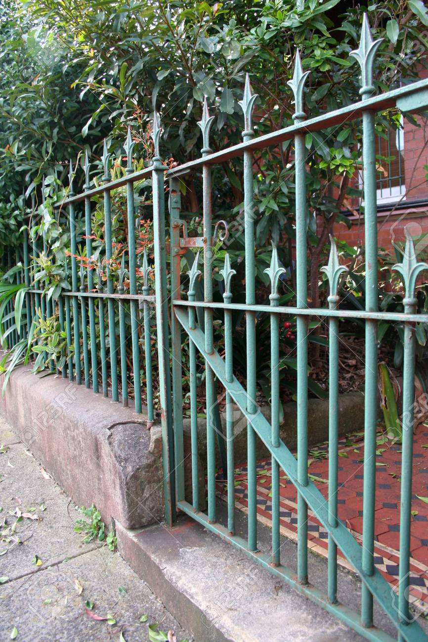 Green Front Gate And Fence Of A Typical Inner City Sydney Urban
