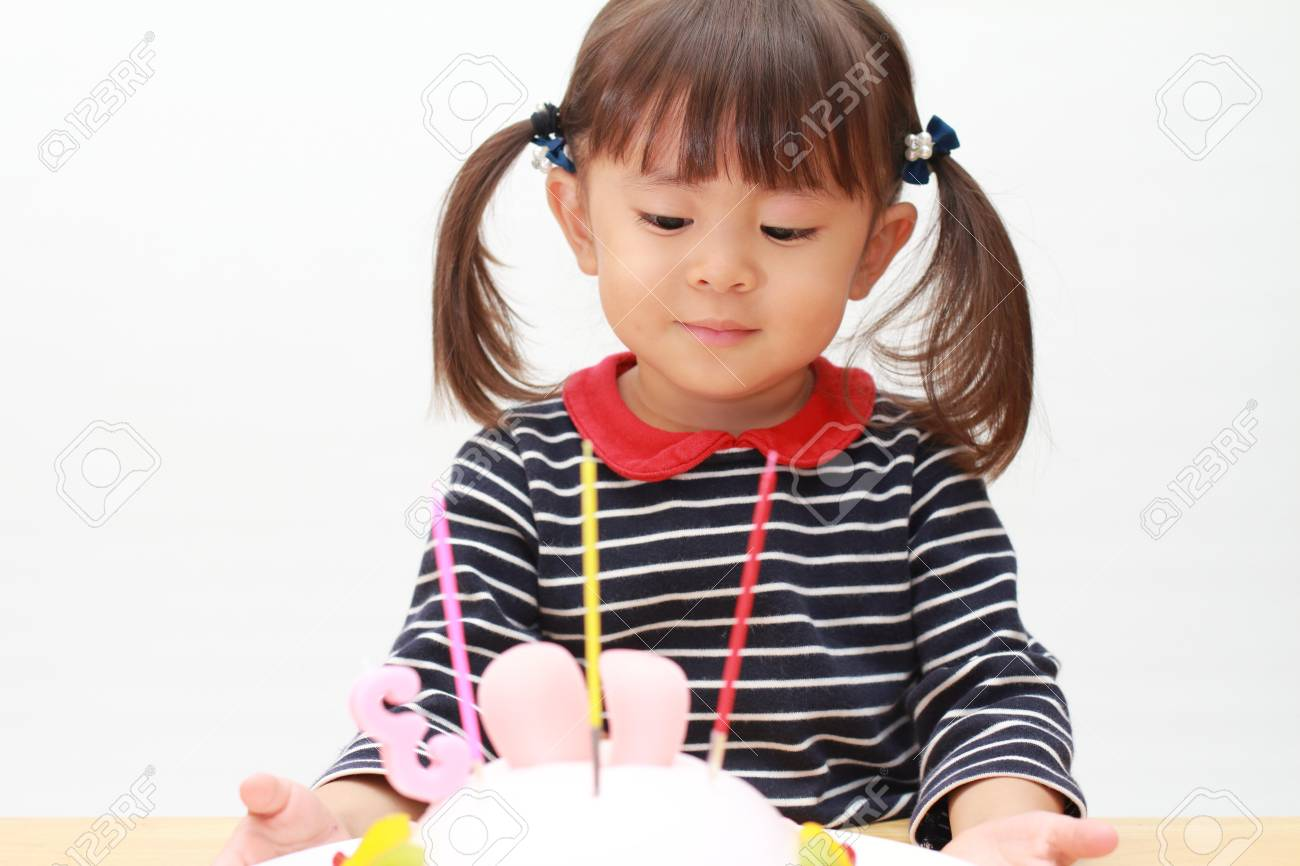 Awesome Japanese Girl And A Birthday Cake 3 Years Old Stock Photo Birthday Cards Printable Inklcafe Filternl