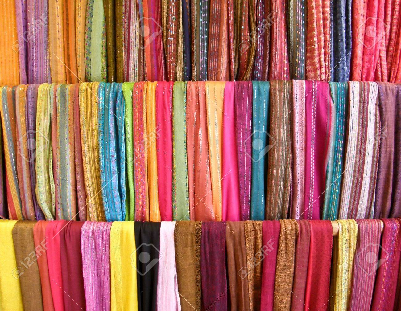 colorful scarves on display Stock Photo - 6758352