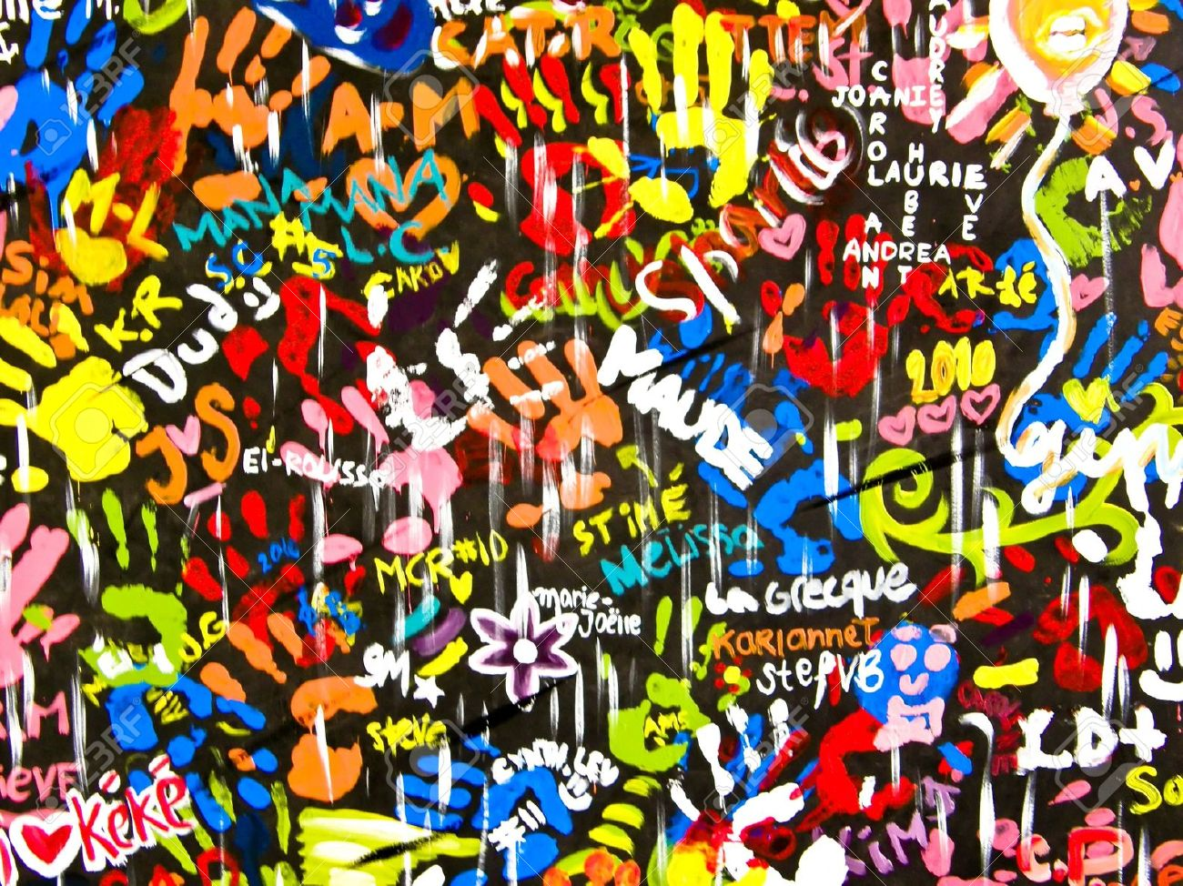 funky colorful and bright graffitis on wall stock photo picture and