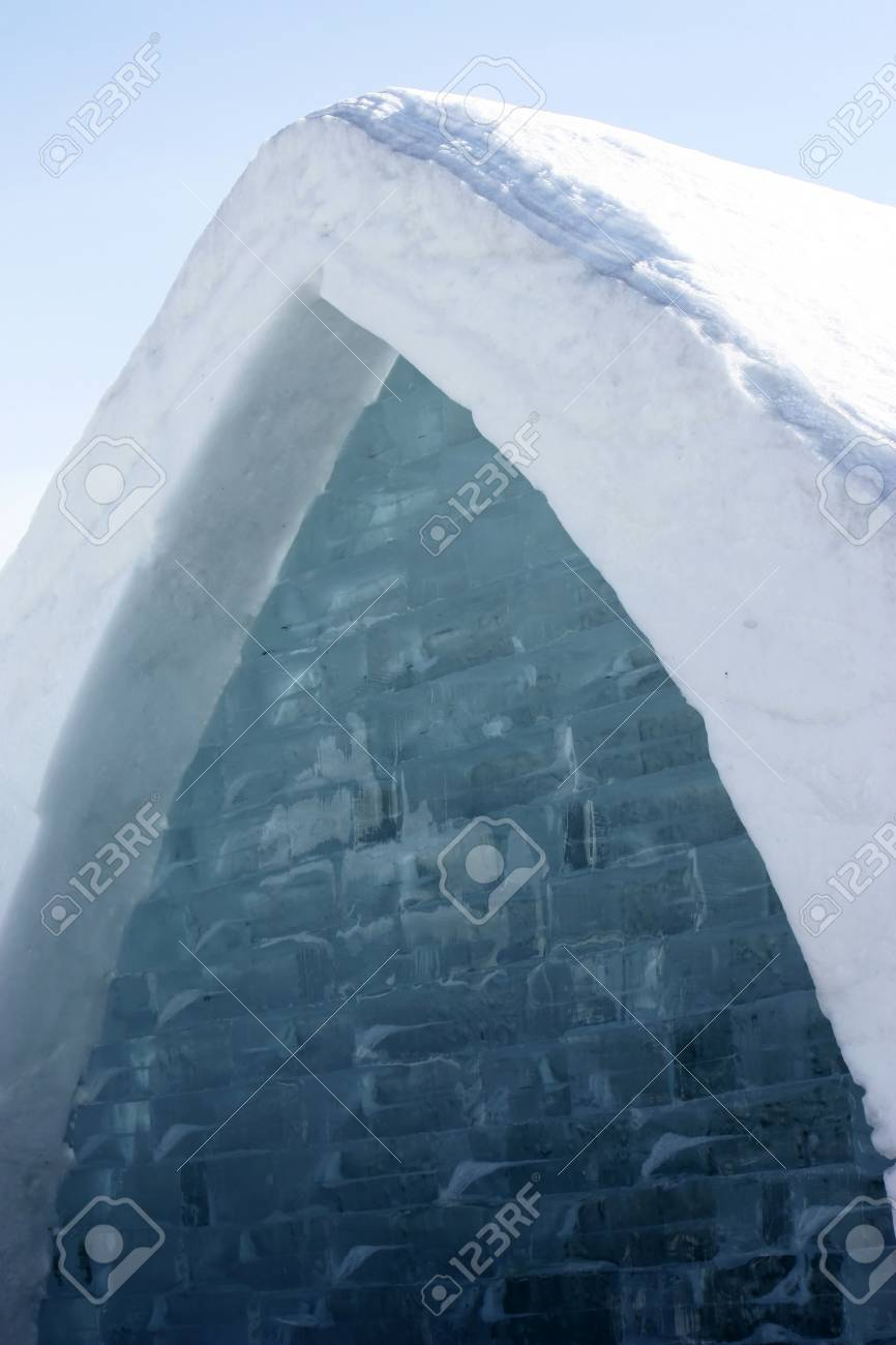 Quebec, Canada-February 20, 2011: Closeup on famous ice hotel exterior building  in Quebec city, Canada Stock Photo - 8944867