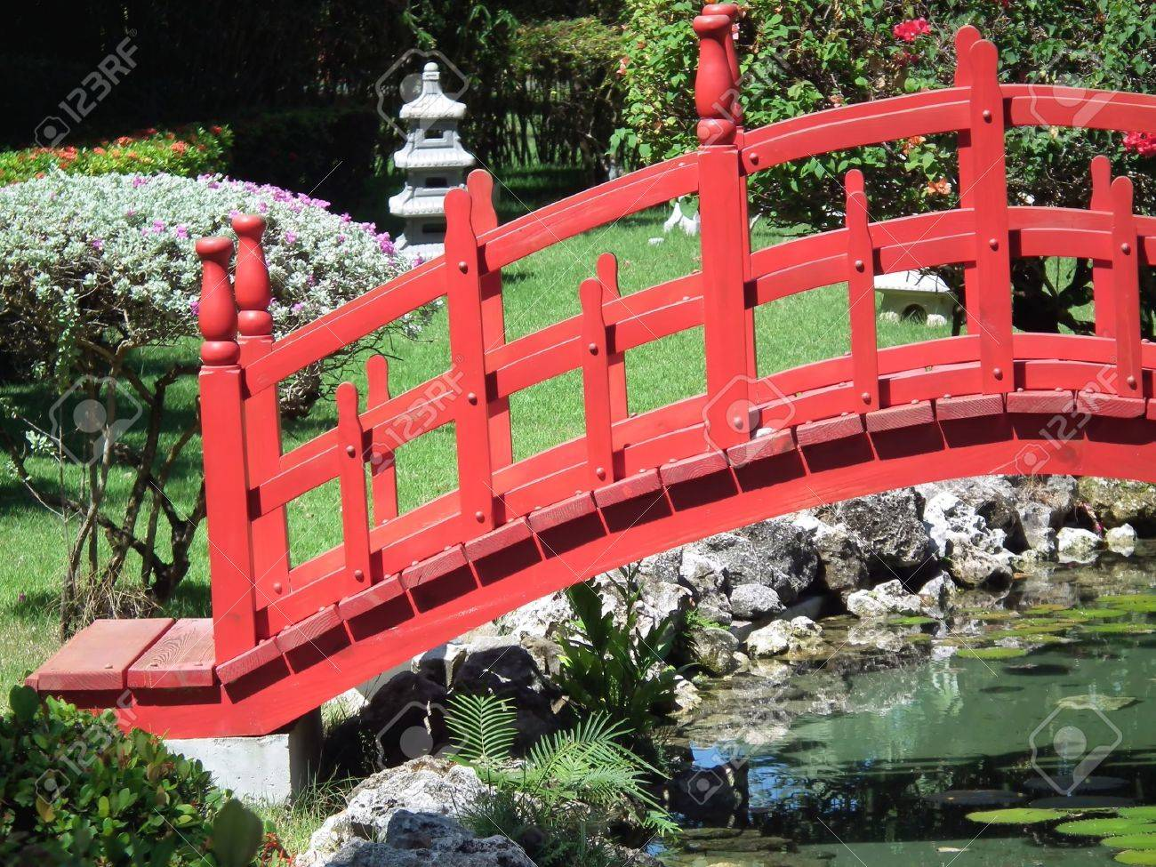 red asian bridge in garden stock photo 9714387 - Red Japanese Garden Bridge