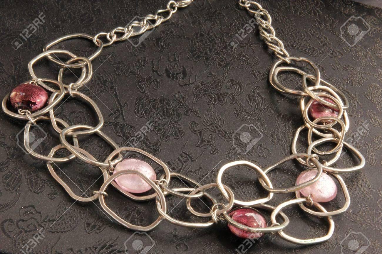 luxury necklace on black background Stock Photo - 9977053