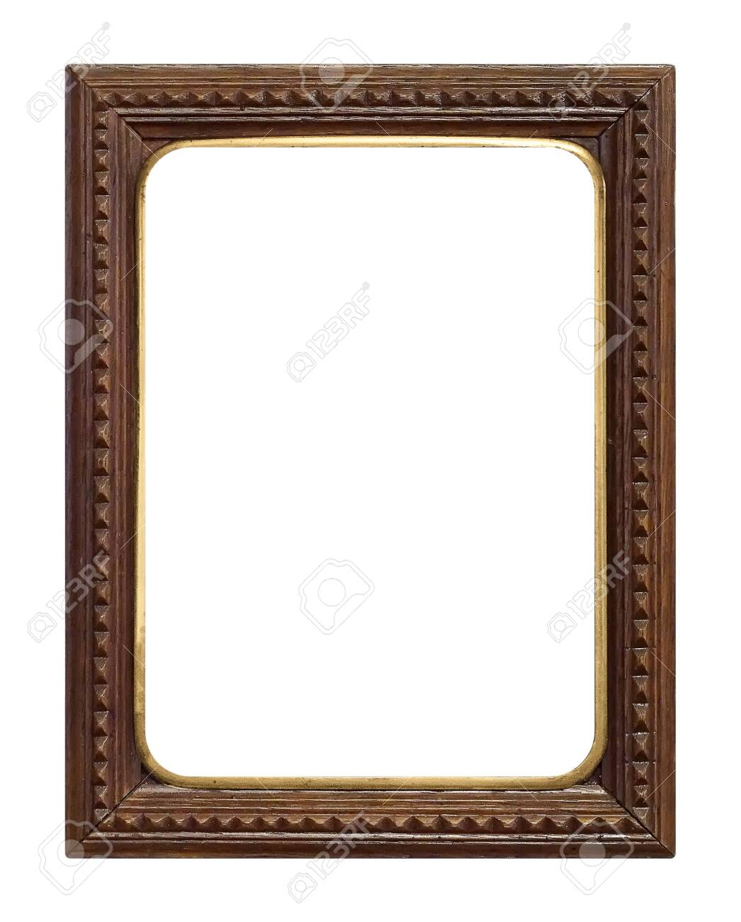 Wooden frame for paintings, mirrors or photo isolated on white background - 128223966