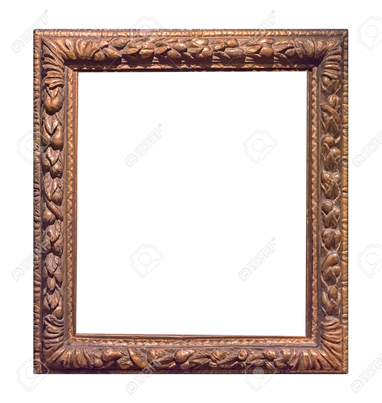 Golden frame for paintings, mirrors or photo isolated on white background - 154348066