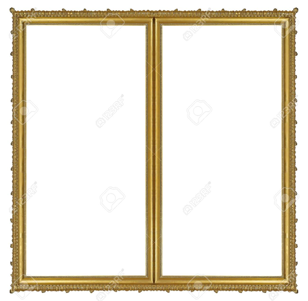 Double golden frame (diptych) for paintings, mirrors or photos isolated on white background. - 154869863
