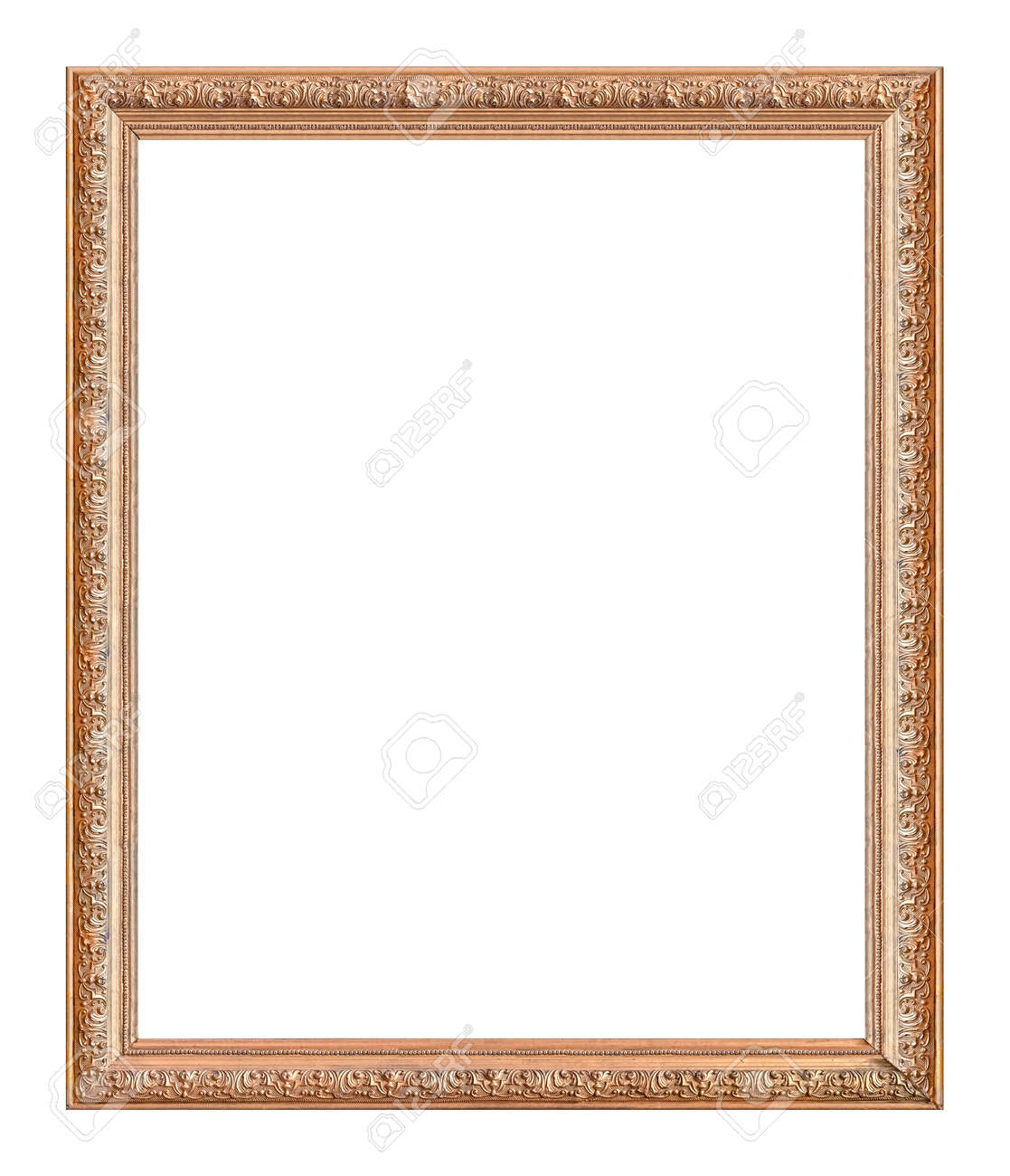 Golden frame for paintings, mirrors or photo isolated on white background - 155313415
