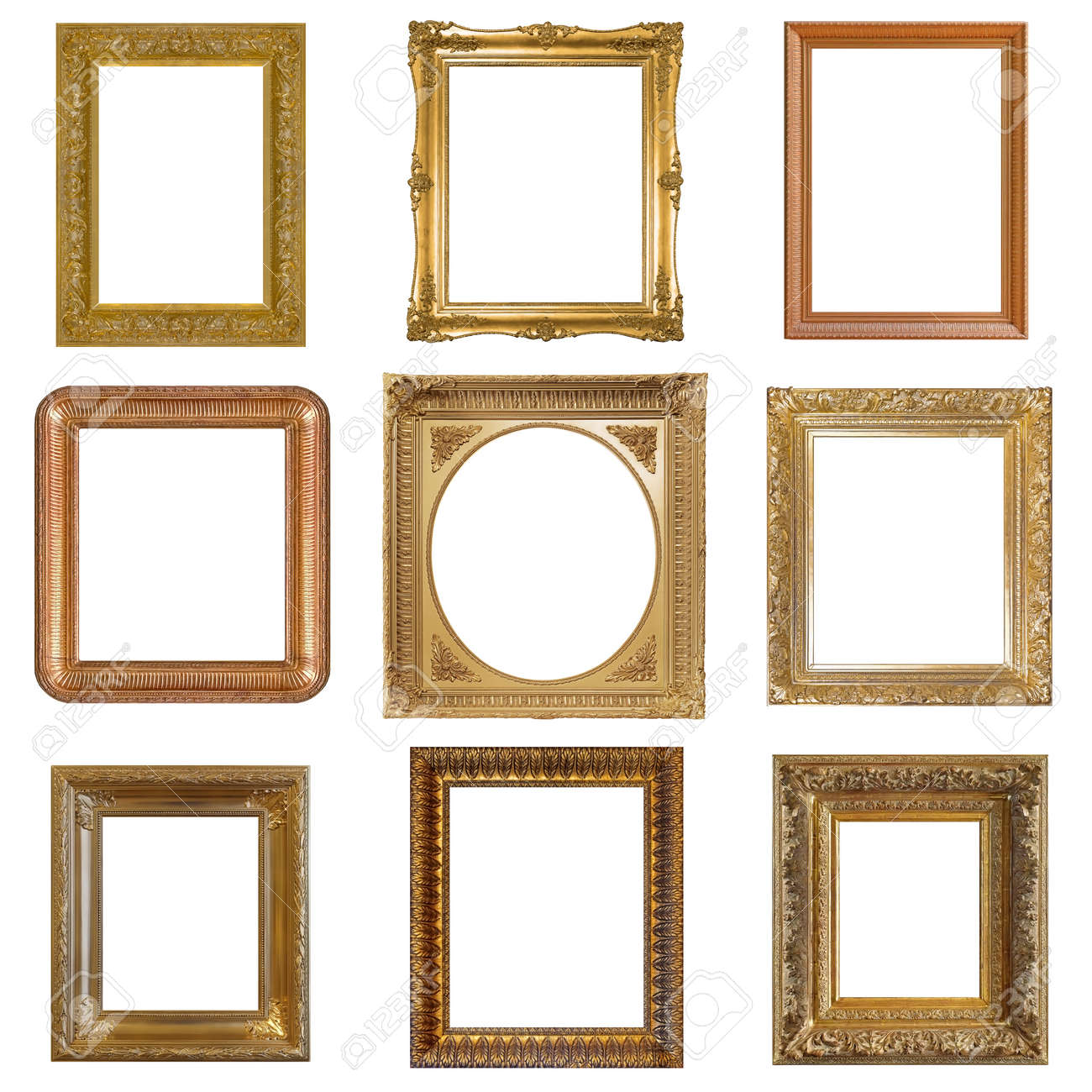 Set of golden frames for paintings, mirrors or photo isolated on white background - 155590009