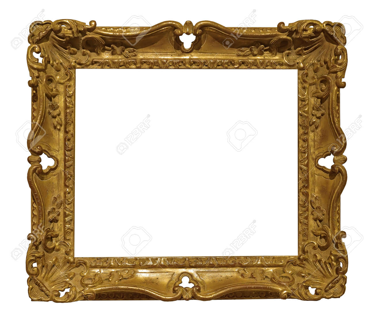 Golden frame for paintings, mirrors or photo isolated on white background. - 156567758