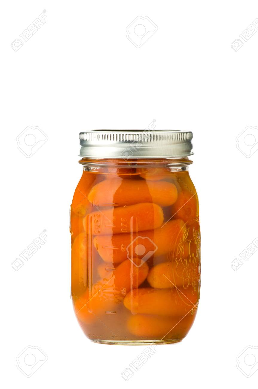 Jar of preserved carrots isolated Stock Photo - 10101300