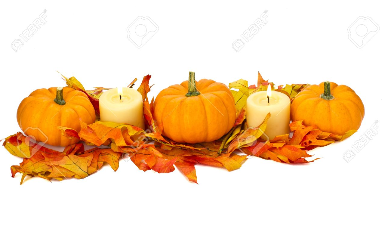 decorative fall centerpiece with pumpkins leaves and candles stock photo 11963962 - Fall Pumpkins