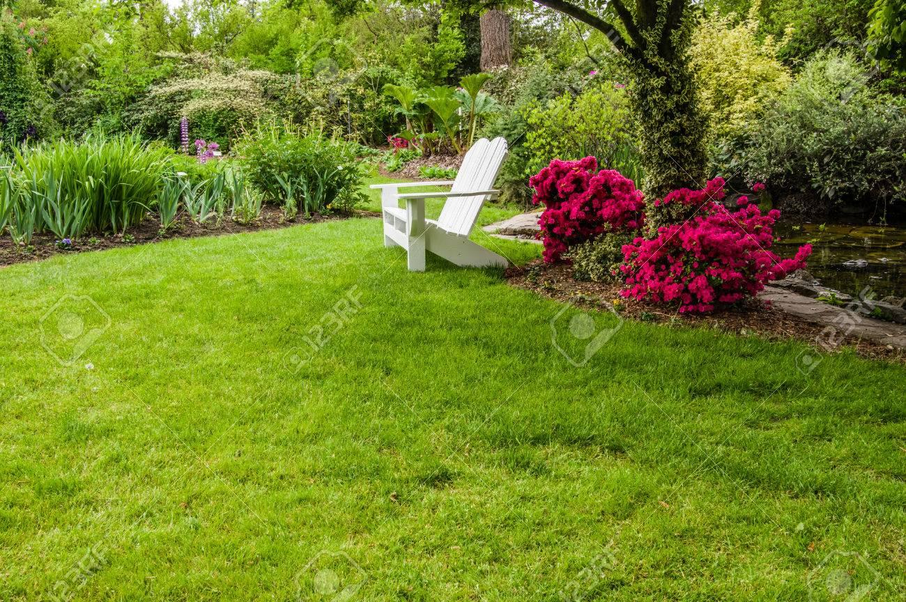 Vert Gazon Et Arbustes à Fleurs Dans Un Jardin Paysager Banque D ...